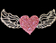 View Rhinestone Sticker Heart Pink Wings Image 1