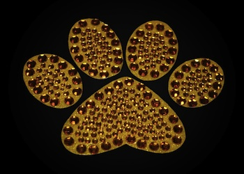 View Rhinestone Sticker Paw Gold Image 1