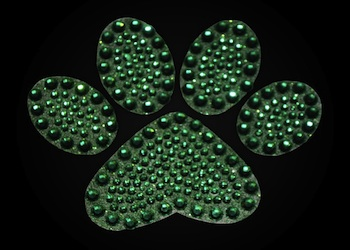 View Rhinestone Sticker Paw Green Image 1