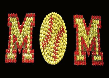 View Rhinestone Sticker Softball Mom Image 1